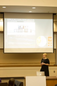 Rebekah presenting her work at the LSU Three Minute Thesis (3MT) competition.