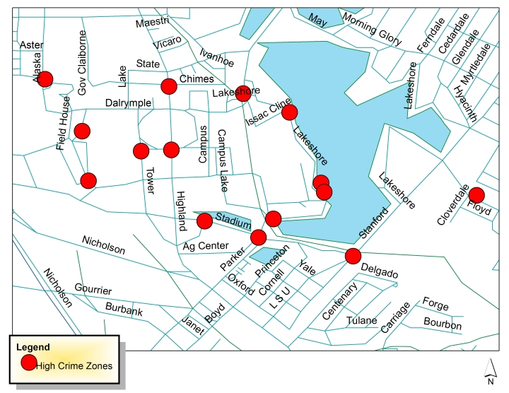 Above: A map illustrating areas where crimes have been committed more than once in a 100 meter radius since August 2013. Source: LSU PD.